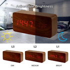 Wooden Alarm Clock, LED Clock With Three Alarms,Digital Clock in 12/24 Time
