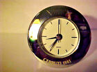 "CERRUTI 1881 TRAVEL CLOCK ALL STAINLESS STEEL,QUARTZ, 2 1/4"" WIDE 5/8"" THICK"