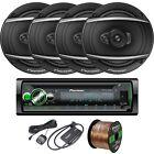 """Pioneer DEHS6100BS Receiver, 4 x 6.5"""" Speakers, Speaker Wire, SiriusXM Tuner Kit"""