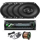 """Pioneer DEHS6100BS Receiver, 4 x 6x8"""" Speakers, Speaker Wire, SiriusXM Tuner Kit"""