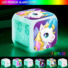Color Change Led Digital Kids Cartoon Unicorn Alarm Clock Thermometer Date Clock