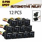 12PCS Car Vehicle Truck Auto 12V 40A SPST Relay & 5PCS Socket 5Pin 5P 5 Wire