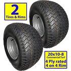 2) 20x10.00-8 Turf Tires Wheels Rims Off Road Go Kart Fun Cart Dune Buggy 4-Hole