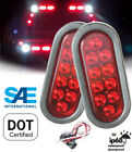 """Pair 6"""" Red Oval Oblong LED Light Stop Turn Tail Trailer Truck w Grommet Pigtail"""