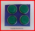 GREEN Mini Reflectors license plate bolts set of 4 NEW