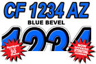BLUE BEVEL Boat Registration Numbers PWC Decals Stickers Graphics CF, NV AZ...