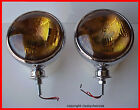 "NEW 6 INCH Chrome Fog Lights AMBER 12V Pair w/ 5"" sealed beams Bullet style"