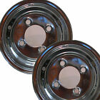 "2) 8"" CHROME RIM WHEEL 8x3.75 4/4 for Camper Jet Ski snow mobile utility Trailer"
