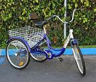 "New 6-Speed 24"" 3-Wheel Adult Tricycle Bicycle Trike Cruise Bike W/ Basket -Blue"