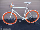 2015 R4 PREMIUM WHITE AND ORANGE FIXIE BICYCLE, SINGLE SPEED, 58CM - LARGE, NR