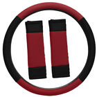Steering Wheel Cover for Auto Car Truck Van SUV Red Black Mesh Fit w/Belt Pads