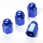 4 Blue Hex Dome Wheel Tire Pressure Air Stem Valve Caps for Auto-Car-Truck