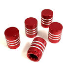 5 Red Aluminum Chrome Stripes Tire/Wheel Stem Valve Caps for car-truck-hot rod