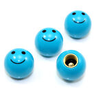 4 Blue Smiley Face Ball Tire/Wheel Air Stem Valve Caps for Car-Truck-Hot Rod