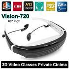 Mini 68'' 3D Video Glasses Eyewear Viewer HD 1080P AV-IN F/ DVD TV Box PS3 PS2