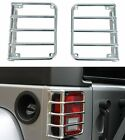 NEW Enhanced For Jeep Wrangler JK 2007-2017 Tail light Guard Cover Set Silver
