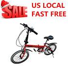 "20"" White Folding Bike 6 Speed Bicycle Fold Storage School Sports City Commuter"