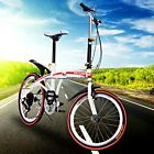 "20"" Folding Bike 6 Speed Bicycle 26.4-35.4"" Seat Tall  Storage Red School Sports"