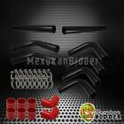 """Universal DIY Intercooler Piping Kit  3"""" Black Pipes + Red Couplers + Clamps"""