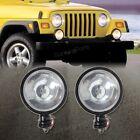 Slim Round Black Fog Light for Jeep Wrangler CJ YJ TJ JK Left+Right Pair