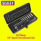 """Sealey AK7970 Premier Socket Set 32pc 1/4"""" 6pt WallDrive Metric Black Series NEW"""
