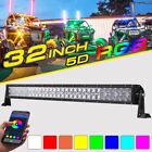 """32"""" 420W RGB LED Light Bar CREE Strobe Flash Multi Color UTV ATV For Polaris 30"""