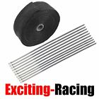 "2"" 50Ft Roll Fiberglass Exhaust Header Pipe Heat Wrap Tape Black +10 Ties Kit"