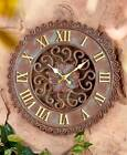 INDOOR OUTDOOR WEATHERED LOOK CLOCK NATURAL PATINA FINISH GOLDEN ACCENTS