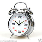 Modern Simplicity D11cm Stoving Varnish Silent Mechanic Alarm Clock Silver