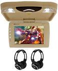 "Rockville RVD13HD-BG 13"" Flip Down Car Monitor w DVD/HDMI/USB/SD/Games+Headsets"