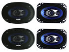 """4) New Pyle PL463BL 4x6"""" 480 Watts 3 Way Coaxial Car Speakers Stereo Blue"""