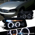 Glossy Black Dodge 06-10 Charger Halo LED Projector Headlights Headlamps Pair