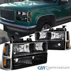 94-98 C10 C/K 1500 2500 3500 Suburban Yukon Black Headlights+Bumper Corner Lamps