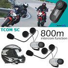 2 Sets TCOM-SC Motorcycle Helmet Bluetooth Intercom Kit Interphone FM Radio Y6Z8