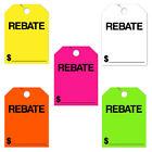 50 Pack Jumbo Car Dealer Rebate Mirror Hang Tags You Choose Color