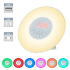 Natural Wake-Up Light  Simulation Alarm Clock USB LED FM Radio Night Lamp V7Q9