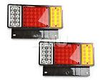 Pair of Red & amber & clear 12V 50 LED light for Trailer Truck Caravan car rear