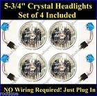 "Chrysler 5 3/4"" Headlights Halogen Sylvania Head Lamps Clear 4 Light System"