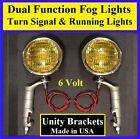 """6 Volt Turn Signal 5"""" Amber Fog Running Lights & Unity Brackets  Hot Rod 6v  3"""