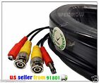 BLACK 30ft PREMIUM QUALITY PRE-MADE SECURITY CAMERA VIDEO POWER CABLE