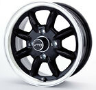 SET OF 4 NEW 15x6 BLACK CLASSIC 8 VTO WHEELS, MG, MORRIS, DATSUN 4X114.3
