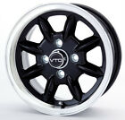 SET OF 4 NEW 15x6 BLACK CLASSIC 8 VTO WHEELS, MIDGET, SPRITE, JENSEN, 4X101.6