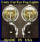"Cat Eye 6"" Unity 6 Volt Fog Lights with Chrome Bumper Brackets Made In USA -1"