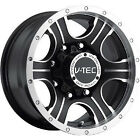 18x8.5 Machined Black V-Tec Assassin 5x5 +25 Rims Open Country AT II