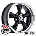 """17 inch 17x8"""" Retro Wheel Designs Black Rims 5x4.50"""" for Ford Maverick 69-77"""