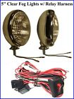 """5"""" Clear Fog Lights w/ Relay Harness Glass Lens Chrome 12 Volt H3 Cadillac Olds"""