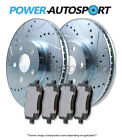 (FRONT) POWER CROSS DRILLED SLOTTED PLATED BRAKE ROTORS + CERAMIC PADS 56834PK