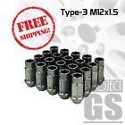 Racing Lug Nuts Type-3(Aluminum) Set of 20 M12X1.50(GUN METAL) For Scion iQ