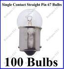 100 #67 Incandescent Bulbs 12 Volt Single Contact Straight Pin Light Globe Lamp