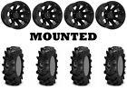Kit 4 ITP Cryptid Tires 30x10-14 on Raceline Scorpion Black Wheels IRS